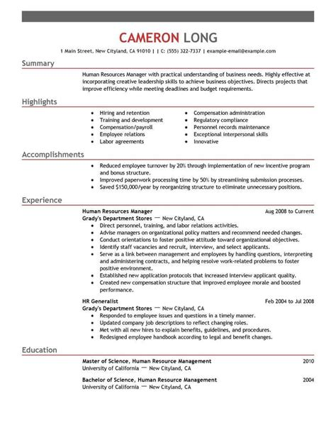 Human Resource Manager Resume by Best Human Resources Manager Resume Exle Livecareer