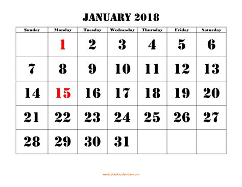 printable calendar 2018 large free download printable calendar 2018 large font design