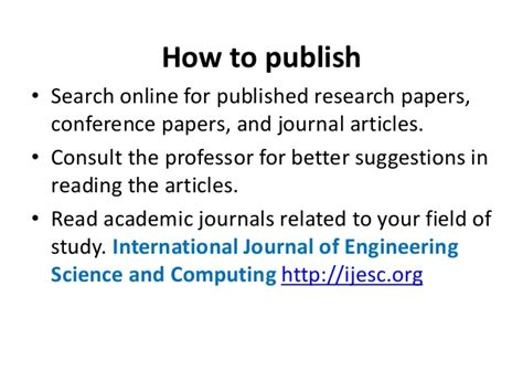 how to publish research papers how to publish research paper in international journal
