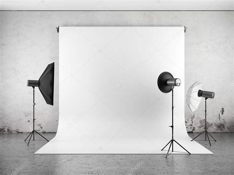 indoor photography lighting equipment empty photo studio with lighting equipment stock photo