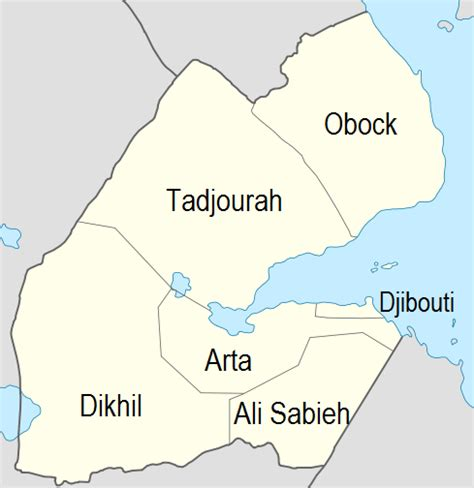 africa map divided into regions districts of djibouti