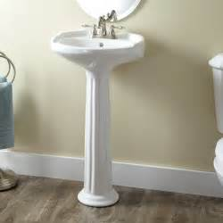medium porcelain pedestal sink bathroom