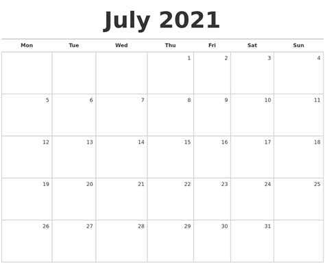 july calendar template july 2021 blank monthly calendar