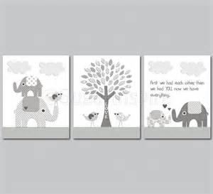 Grey elephant nursery art print set 8x10 kids room decor