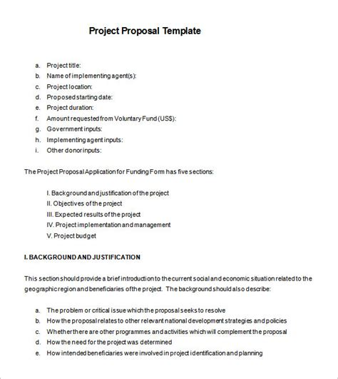 project proposal templates 21 free sle exle