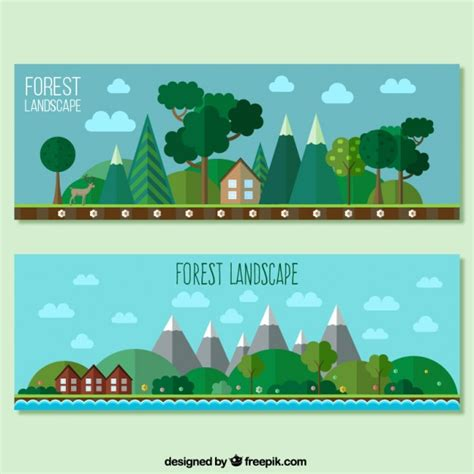 design banner congress forest landscape banners in flat design vector free download