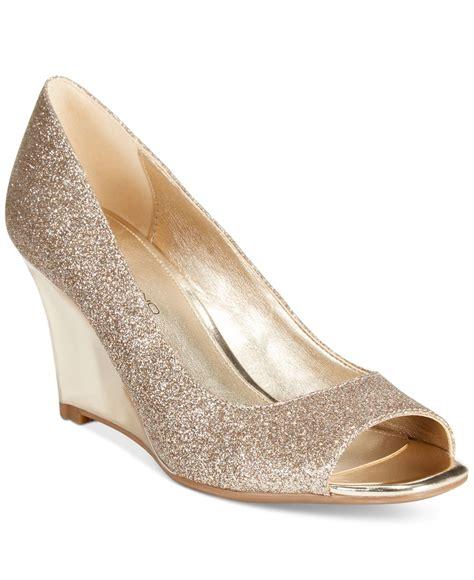 gold wedges shoes bandolino jamila peep toe pumps in metallic lyst