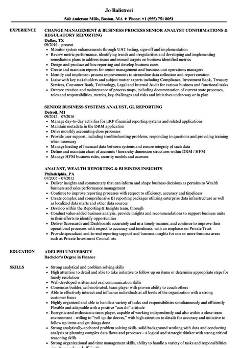 Senior Business Analyst Resume by Business Analyst Reporting Analyst Resume Sles