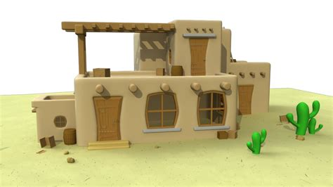 mexican house 3d mexican house cartoon model