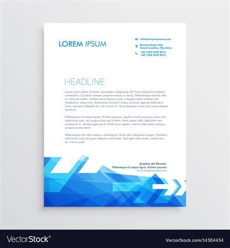 abstract letterhead template blue arrow style vector image