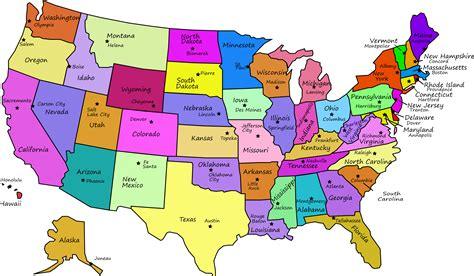 capital usa map us map with states names