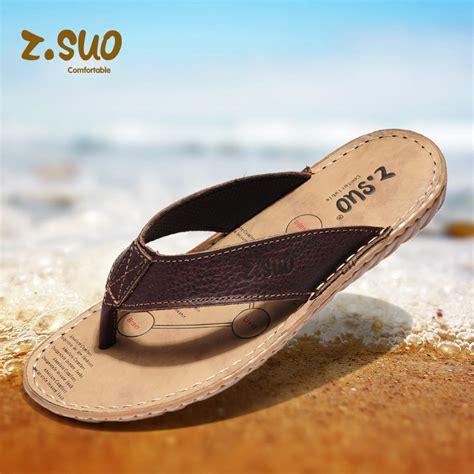 Sendal Sandal Pria Big Size Kasual Trendy Branded Original zsuo real leather flip flops shoes casual sandals slippers brand designer stylish for