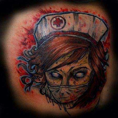 zombie nurse tattoo designs tony boufandene tattoonow