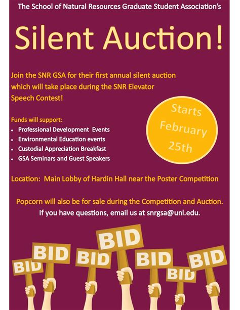 Snr Graduate Student Association To Host Silent Auction Annou With Cancer Benefit Flyer Template Auction Flyer Template