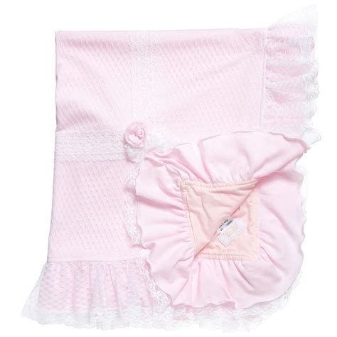 Libby Baby Blanket Cotton pink cotton lace baby blanket 88cm childrensalon