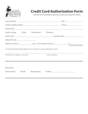 Credit Card Authorization Form Pdf Fillable Template Cvv Credit Card Authorization Form Fill Printable Fillable Blank Pdffiller