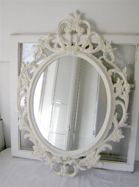 ornate baroque oval mirror antique white ornate by
