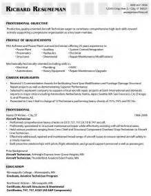 Aircraft Mechanic Resume Template by Exle Of An Aircraft Technician S Resume