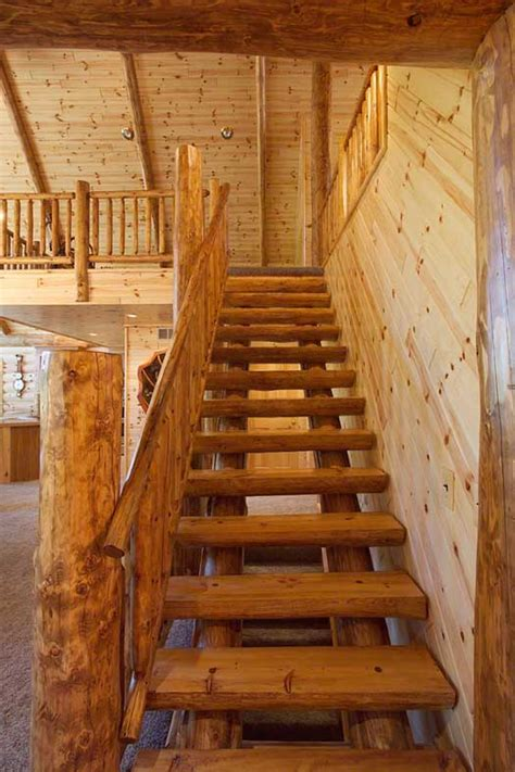Log Cabin Stairs by Log Railings And Stairs Cedar And Pine Log Railing Systems