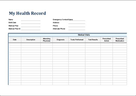 Personal Medical Health Record Sheet Word Excel Templates Personal Health Record Template Pdf