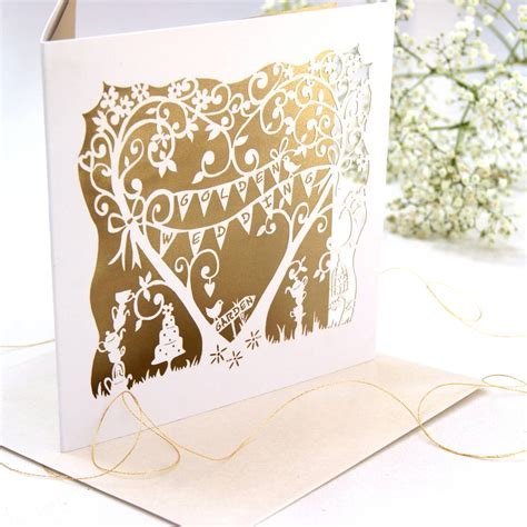golden wedding cards to make golden wedding anniversary card laser cut card by the