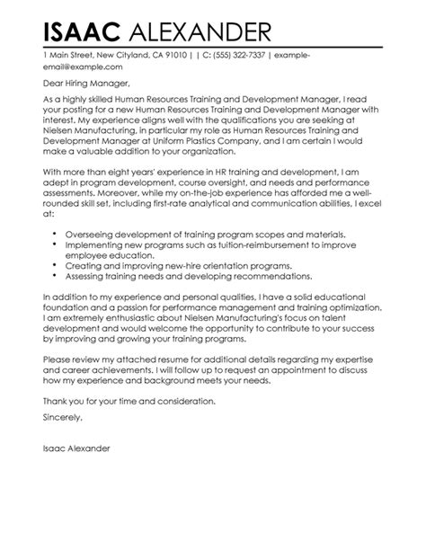 training and development cover letter exles human