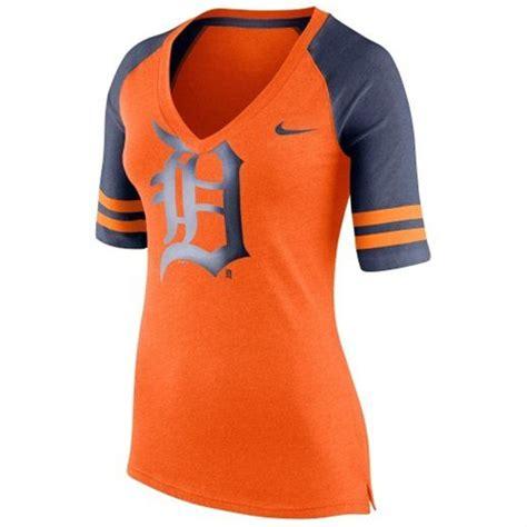 sports team fan gear nike detroit tigers women s orange logo fan 1 4 v neck t
