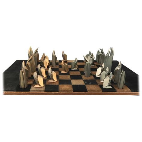 deco chess set mid century modern bronze and suede chess set cubist deco for sale at 1stdibs