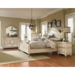 king bedroom sets image: heritage antique white  piece king bedroom set