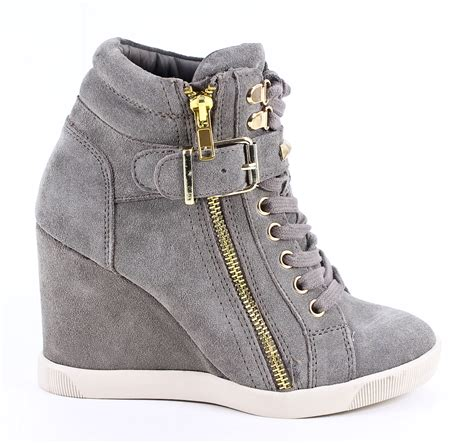 Steve Madden 8 by Steve Madden Taupe Suede Leather Obsess Wedge Sneakers Shoes 8 New Ebay