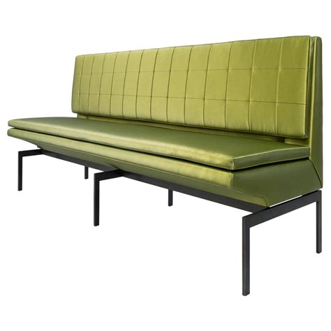 Banquette For Sale by Mancini Banquette Quilted Green Satin Back Blackened