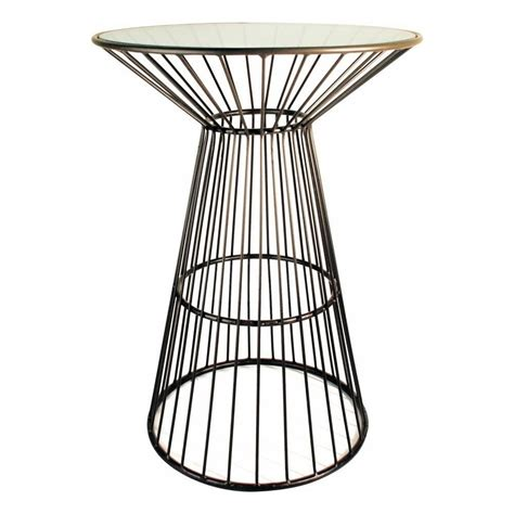 cage table buy metal cage style side table with glass top from fusion living