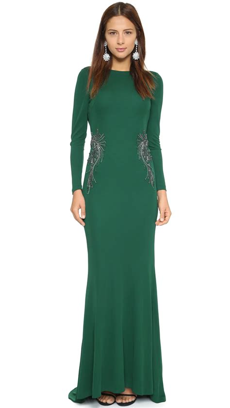 drape gowns badgley mischka collection drape back gown emerald in