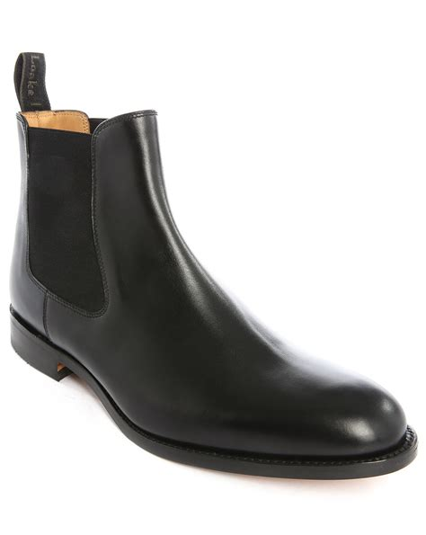 black leather chelsea boots loake petworth leather chelsea boots in black for lyst