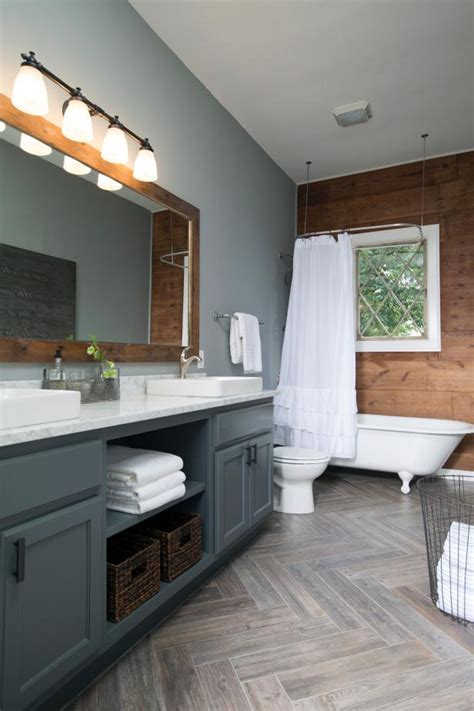 rustic bathroom  wood grain  gray tones hgtv