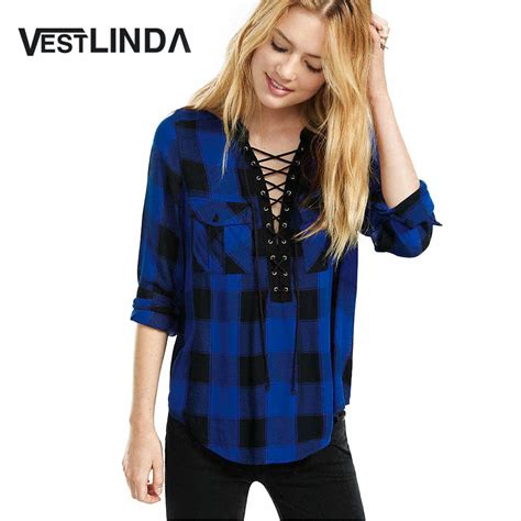 Cross V Neck Sleeve buy vestlinda blouses 2017 new casual blusas criss cross v neck sleeve plaid front