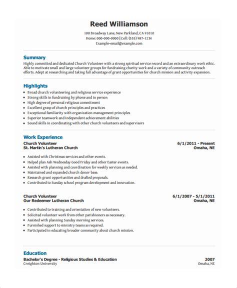 Volunteer Resume Template   7  Free Word, PDF Document