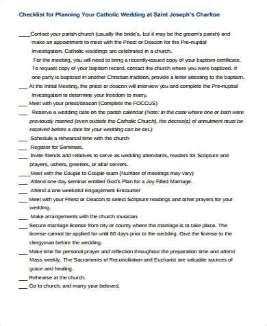 Wedding Checklist Church wedding planning checklist sle in pdf 8 exles in pdf