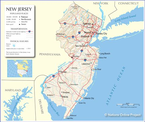 new jersey on the map of usa maps map new jersey