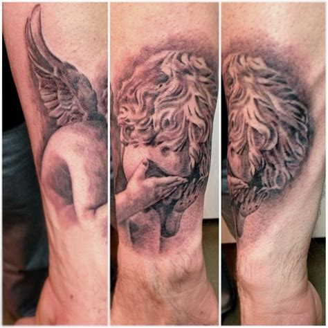 tattoo angel cherub grey ink shy cherub angel tattoo tattooshunt com