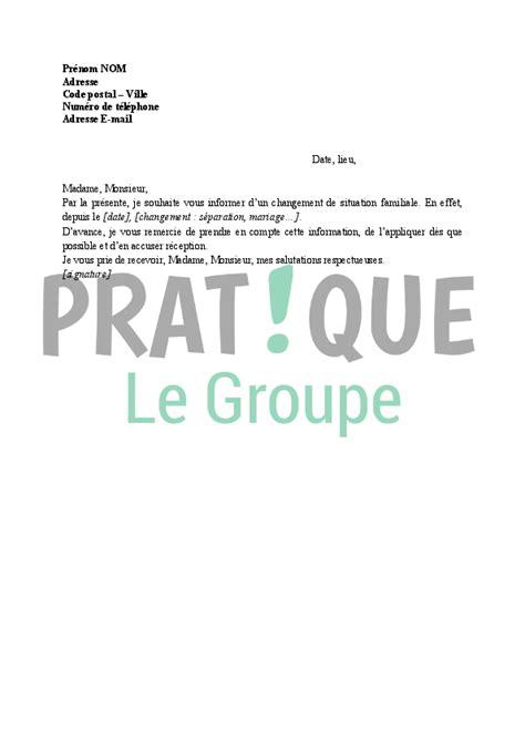 Modèles De Lettre Pour Les Impots Lettre Aux Imp 244 Ts Notification D Un Changement De Situation Familiale Pratique Fr