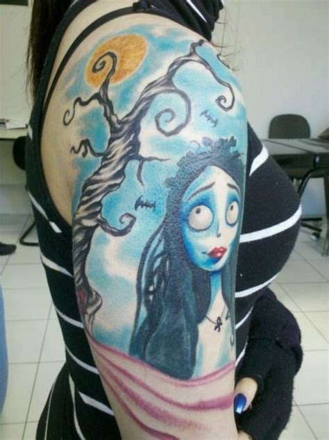 corpse bride tattoo tim burton shoulder