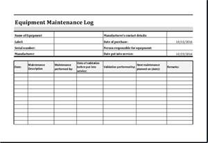 Equipment Log Book Template by Equipment Maintenance Log Template Ms Excel Excel Templates