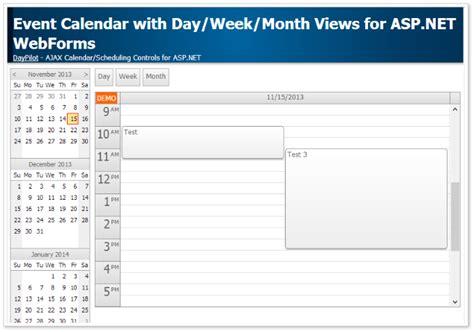 event calendar dayweekmonth views aspnet tutorial