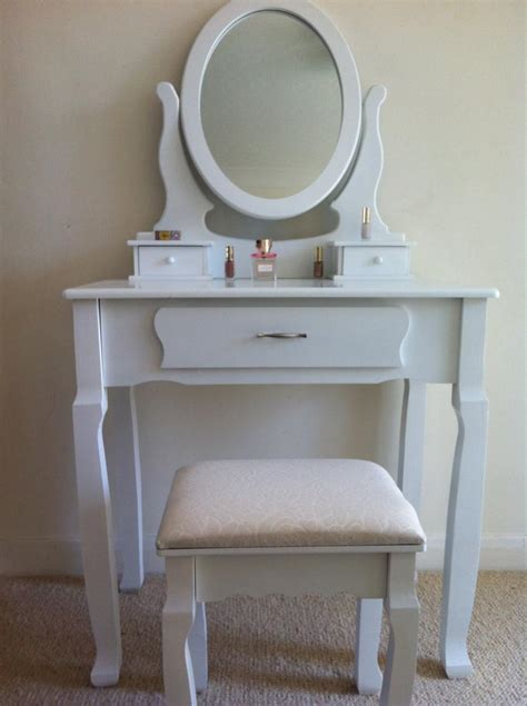 Dressing Table Stool And Mirror by White Dressing Table Set With Adjustable Oval Mirror And Stool Bedroom Ebay