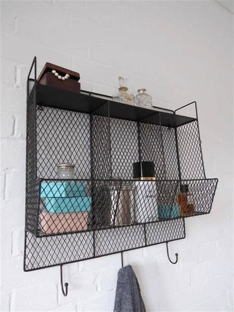 Bathroom Metal Shelves Bathroom Metal Wire Wall Rack Shelving Display Shelf Industrial Storage Black Ebay