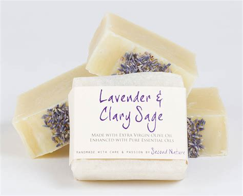 By Nature Handmade Soaps - lavender and clary handmade soap by second nature