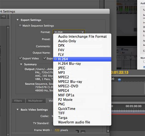 adobe premiere export video format exporting movies from premiere compression options