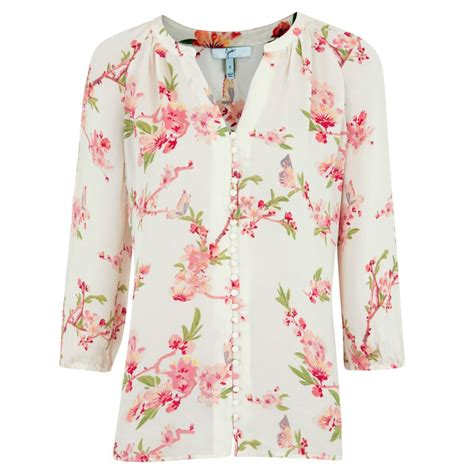Flower Blouse joie kade floral print silk chiffon blouse in white floral lyst
