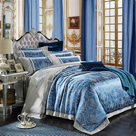 Blue Bedding Sets Luxury Blue Home Textile Bedding Set Luxury Jacquard Silk Satin Duvet Cover Set Bed Sheet Linen